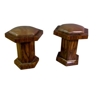 Pair Hexagonal Rosewood and Brass Stool, France 1960s For Sale