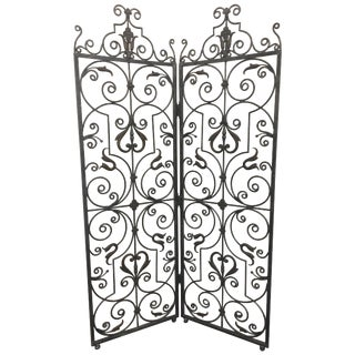 Lovely Hand Forged Wrought Iron Filigree Screen Room Divider For Sale