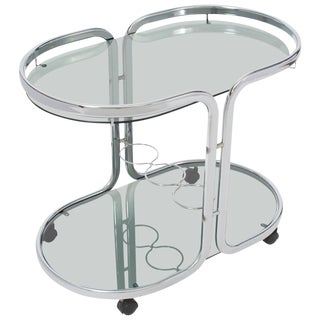 Oval Polished Chrome Bar Cart For Sale