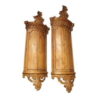 Pair of 18th Century Hanging Corner Cupboards From Napoli, Italy For Sale
