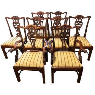 Eight Georgian Style Mahogany Dining Chairs For Sale