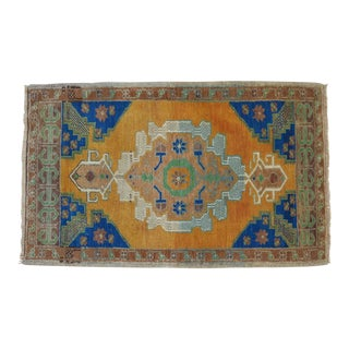 Distressed Low Pile Oushak Yastik Rug Faded Colors Vintage Petite Rug - 26'' X 42'' For Sale