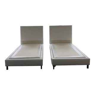White Genuine Leather Twin Beds - A Pair For Sale