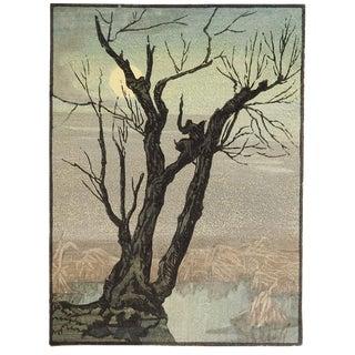Mountains & Tree Evening Woodblock For Sale