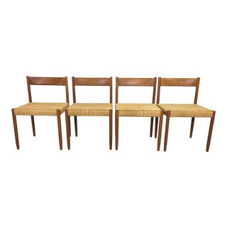 Set of 4 Teak Danish Cord Dining Chairs For Sale