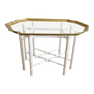 Vintage Baker Faux Bamboo Accent Table W/ Brass /Glass Top For Sale