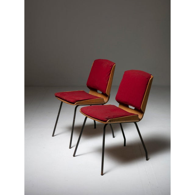 """Red Pair of """"Lucania"""" Chairs by Giancarlo De Carlo for Arflex For Sale - Image 8 of 8"""