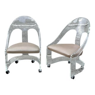 Vintage Spoon Back Lucite Chairs with Wheels - a Pair For Sale