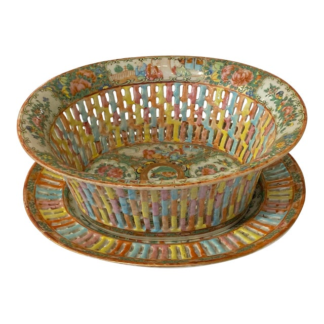 Rose Medallion Pierced Bowl and Under Plate For Sale