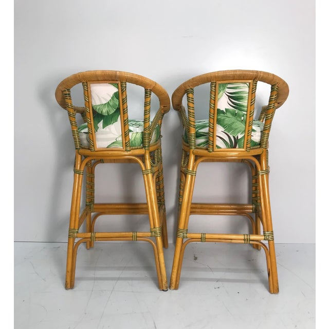 1970s Vintage Tropical Rattan Bar Stools - a Pair For Sale - Image 4 of 7