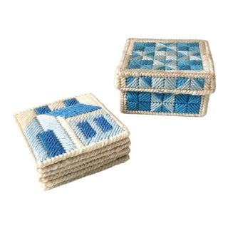 Vintage Blue Woven Coaster Set - Set of 6 For Sale