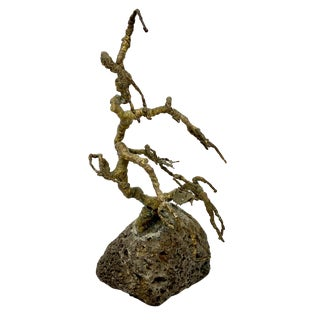 Vintage Mid-Century Brass and Stone Tree Sculpture For Sale
