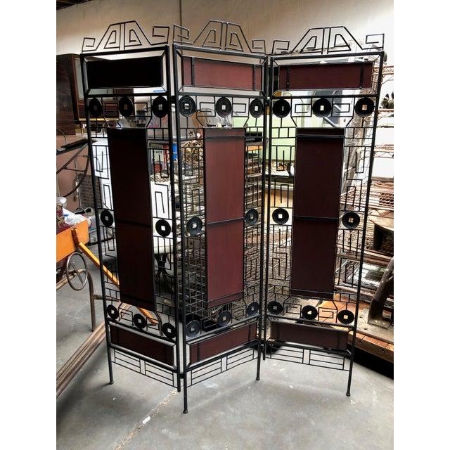 Brown 1980s Vintage Asian-Inspired Decorative Room Divider For Sale - Image 8 of 11