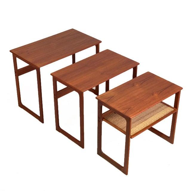 Mid-Century Modern Vintage Danish Teak Nesting Tables With Cane Shelf For Sale - Image 3 of 7