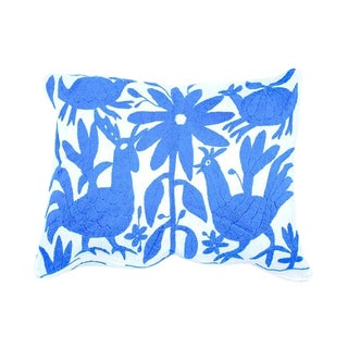 Light Blue Handwoven Otomi Pillow Cover For Sale