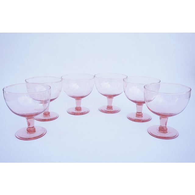 Set of 6 Vintage Pink Stemmed Glasses | Wine Goblets | Champagne Coupes | Sorbet/Berry Cups | Candy Dish ||+1 Bonus Glass Included For Sale - Image 11 of 11