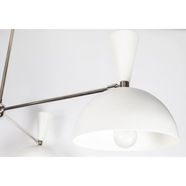 Large Three-Cone 'Lola II' Chandelier in White and Chrome For Sale - Image 9 of 11