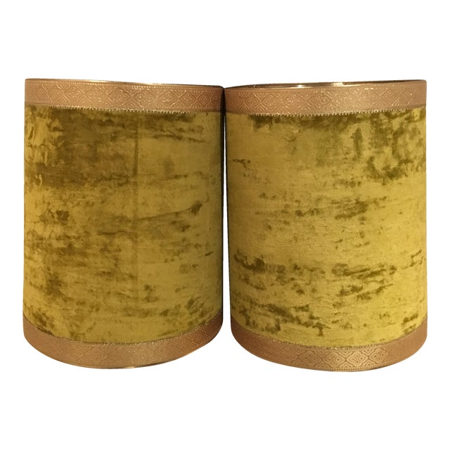 Crushed Yellow Velvet Lampshades - A Pair - Image 1 of 5