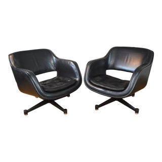 Asko Stendig Finnish Leather Swivel Club Chairs For Sale