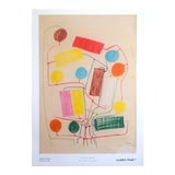 "Image of Atsuko Tanaka Abstract Mid Century Modernism Museum Exhibition Poster Print "" Untitled No.1 "" 1956 For Sale"