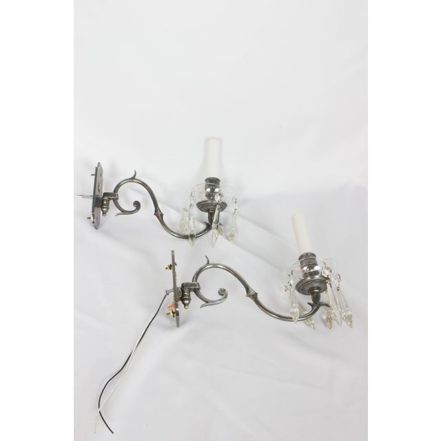 Silver 1920s Antique Silver and Crystal Sconces - a Pair For Sale - Image 8 of 8