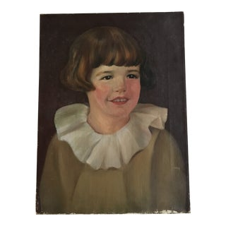 Vintage Portrait of a Young Girl Oil Painting For Sale