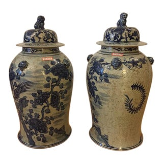 Antique Porcelain Ginger Jars - a Pair