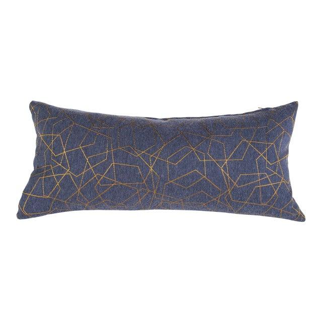 Blue & Gold Hexagons Lumbar Pillow For Sale