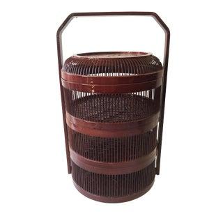 "Bamboo 3 Tier Basket 9.75"" H Japan For Sale"