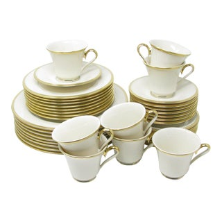 Lenox Eternal 40 Piece Ivory Bone China Dinnerware Set With Gold Trim - Service for 8 For Sale