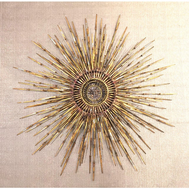 1970s American Gilt Metal Wall Sunburst by William Bowie For Sale - Image 5 of 5