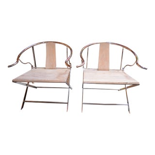 Vintage Pair of Rustic Chrome Wishbone Chairs For Sale