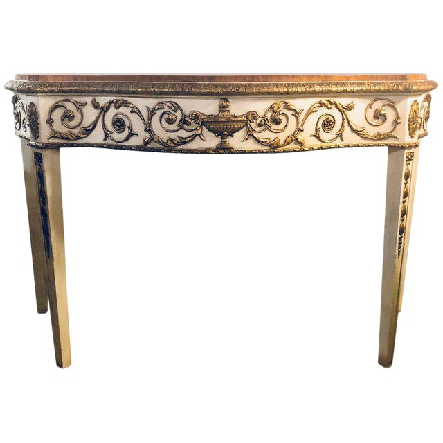 Painted Console or Demilune Table Fine Wood Top Louis XV Style by Maison Jansen For Sale