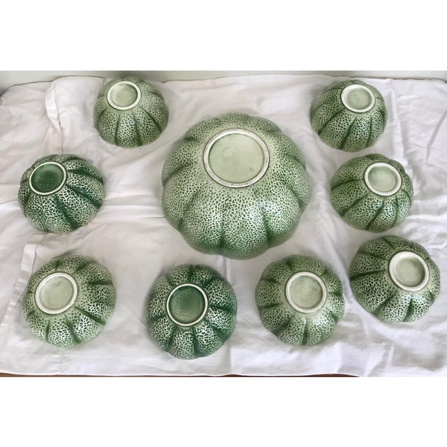 Vintage Knobler Japan Melon Cantaloupe Serving Bowl & 8 Matching Bowls For Sale In Miami - Image 6 of 11