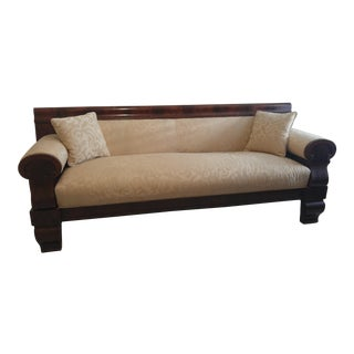 Empire 19th Century Burlwood and Cream Upholstered Sofa