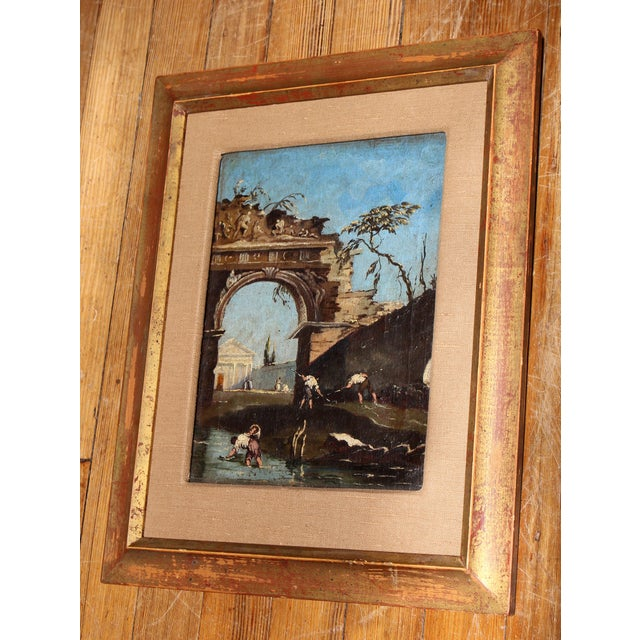 Italian Late 18th Century Oil on Canvas of Ruins & Temple, Italian. For Sale - Image 3 of 9