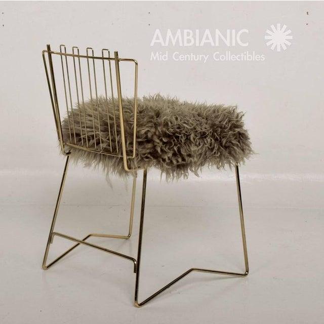 Pr03 Folding Brass & Lambskin Chair For Sale In San Diego - Image 6 of 9