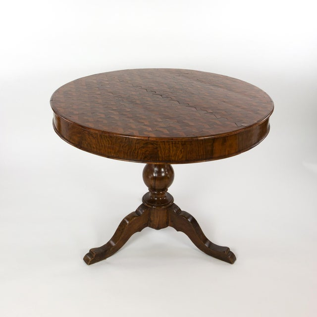 Italian Walnut Round Pedestal Base Center Table With Concave Hexagonal Parquetry Inlay, Circa 1860 For Sale - Image 9 of 10