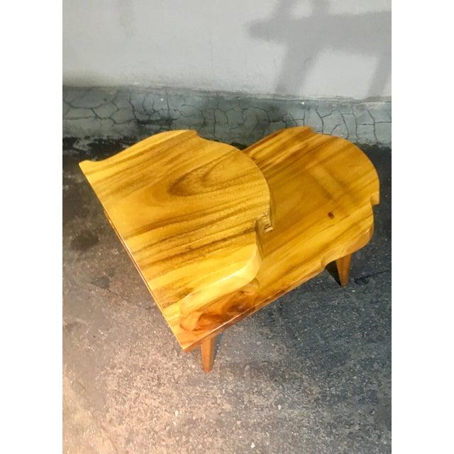 Orange 1960s Organic Modern Solid Slab Koa Wood 2-Tiered End Table For Sale - Image 8 of 12