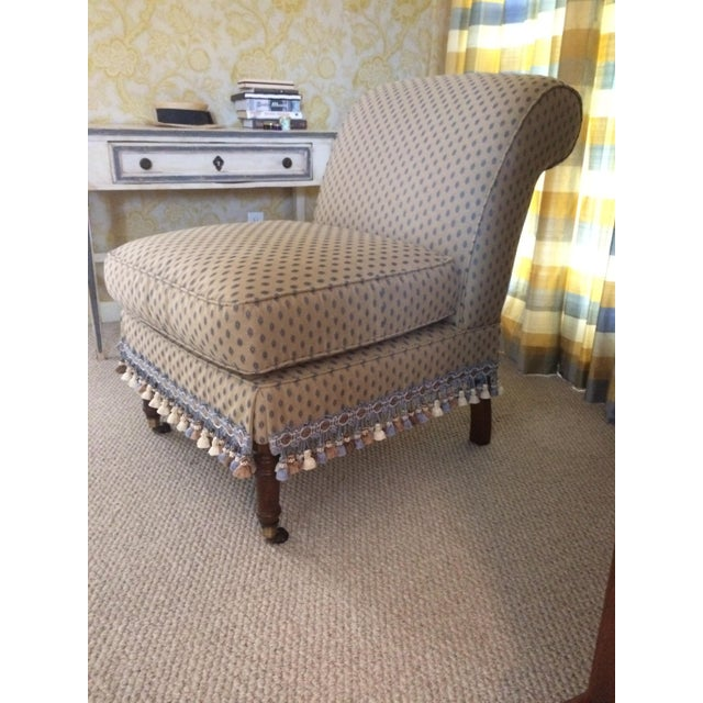 Impressively elegant comfy armless slipper chair upholstered in neutral traditional Pierre Frey fabric having a small...