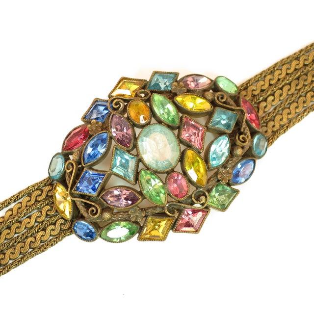 Czech Art Deco Jewel-Tone Bohemian Crystal & Chains Bracelet 1920s For Sale - Image 4 of 13