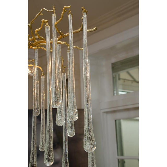 Gold Gilt Metal Chandelier With Crystal Drops For Sale - Image 8 of 10