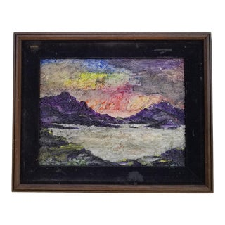 1970s Vintage Maryann Harman Impasto Abstract Landscape Painting For Sale
