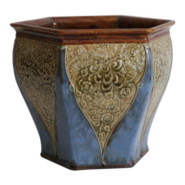 Antique English Royal Doulton Art Nouveau Jardiniere For Sale