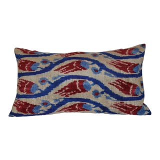 Silk Velvet Ikat Iris Pillow