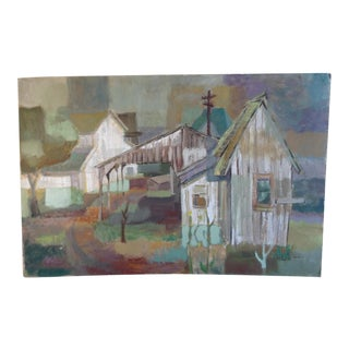 Jae Carmichael Unsigned Barn Study Capistrano Modernist Oil on Board For Sale