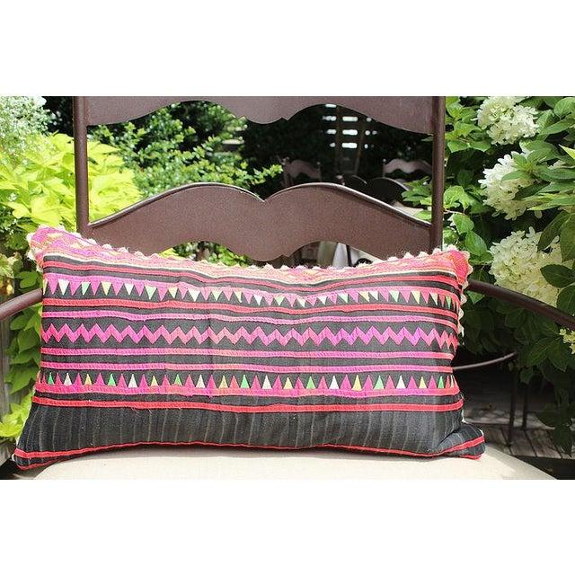 "Vintage Hmong Applique Pillow Black & Pink - 22"" x 11"" - Image 2 of 4"