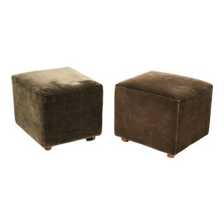 Rare Pair of Custom-Made Nearly Square Box Form Wool Mohair Stools Poofs For Sale
