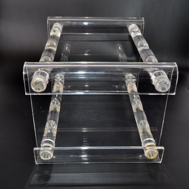 Transparent Mid-Century Modern Six Bottles Lucite Table Top Wine Rack Beverage Stand 70s For Sale - Image 8 of 13