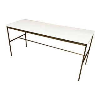Paul McCobb Brass and Vitrolite Console Table For Sale